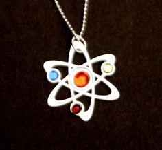 3 Stone Science Symbol necklace. $22.00, via Etsy.