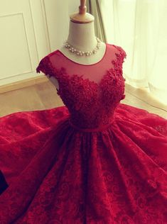 Adorable Knee-length Red Short Lace Prom Dress/Homecoming Dress
