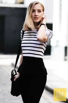 We love the chic simplicity of black and white stripes. London-based blogger Framboise Fashion wears her Gap stripe peplum sweater top for a day around town. Shop her look.