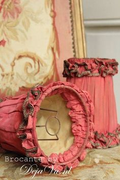 Petite French Vintage Chic Clip on Lamp Shade Blush Pink Dyed French Linen
