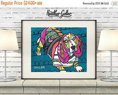 50% off- Basset Hound Angel Art Print Poster by Heather Galler (HG19237) Dog