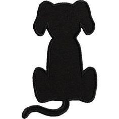 Dog Applique Designs | Sitting Dog Silhouette Applique Design #DogCartoon