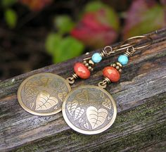 turquoise/orange/brass! I like ! // vintage brass czech glass and turquoise by PinkPoppyStudio on Etsy, $29.00
