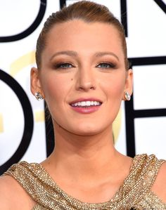 The Best Golden Globes Beauty Looks - Blake Lively's chignon and metallic eye makeup