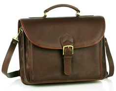 Single Compartment Briefcase - Brown - In stock - Front View