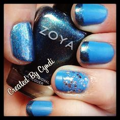 "April Autism Awareness #lightitupblue blue Nail Art diy #bluenailsforautism (Created By Cyndi) Zoya ""Yummy"" & ""Crystal"", NYC Matte Me Crazy Mattifying Top Coat, LA Colors color craze BCC655, inm Out The Door Top Coat"