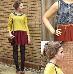 claret red dress , yellow jumper <3