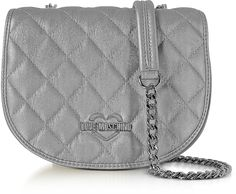 ce3ce35547 Love Moschino Silver Metallic Quilted Eco-Leather Crossbody Bag # commissionlink Blue Fabric, Leather