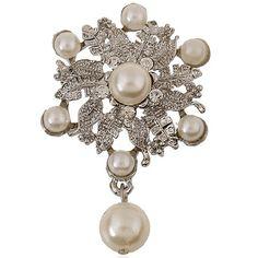 Rhinestone Faux Pérola broche de flor das mulheres chiques