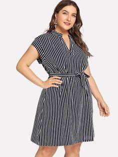Shop Plus V Neck Striped Dress online. SHEIN offers Plus V Neck Striped Dress & more to fit your fashionable needs. Plus Size Dresses, Nice Dresses, Casual Dresses, Dresses For Work, Halter Dresses, Beach Dresses, Curvy Fashion, Plus Size Fashion, Dress Fashion