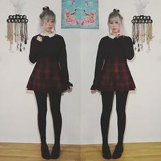 More looks by Lea Brande: http://lb.nu/lea_brande  #greyhair #cute #schoolgirl #septum #fallfashion