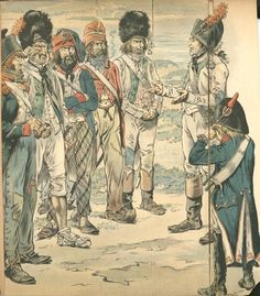 Assorted French troops on campaign 1795. The soldier with red jacket and red bonnet de police  appears to be a hussar based on the side queues .
