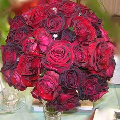 Black Baccara, Classy and Black Magic Roses with Rhinestones Bride's Bouquet