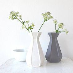 Lilac Coast Matt Glaze Geometric Ceramic Vase ($14) ❤ liked on Polyvore featuring home, home decor, vases, geometric home decor, ceramic vase, geometric vase and ceramic home decor
