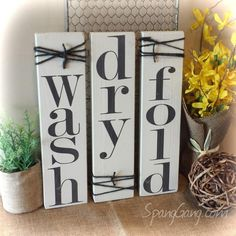 wash//dry//fold Laundry Room decor signs. Set of 3 rustic pallet signs. Wood bathroom laundry decor. NO STICKERS or stencils! by SpangGangDesigns on Etsy https://www.etsy.com/listing/270694697/washdryfold-laundry-room-decor-signs-set