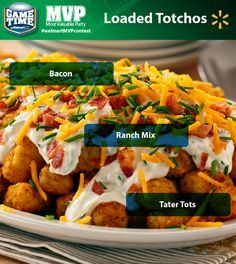 Tater Tots + Nachos + Football = TOUCHDOWN! Whether you're looking for a tailgating recipe or a perfect snack for watching football, this super-easy Loaded Totchos recipe is great for the football game. It's loaded with all the stuff the fans at your party crave - sour cream, cheese, jalapenos, green onions and, of course, bacon!  Share YOUR favorite Game Time recipe for a chance to win a trip L.A. To enter, just post a photo of your recipe on Twitter or Instagram with #walmartMVPcontest.