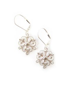 Silver Ornate Filigree Earrings.