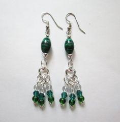 Malachite Quartz and Crystal Dangle Earrings by GypsyDreamerCafe, $14.50