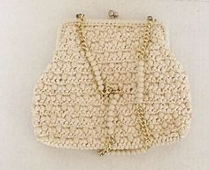 Vintage Beaded Handbag Ivory Off White Made in by CrowsCottage