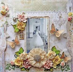 """Scraps of Elegance scrapbook kits - Renea Harrison created this beautiful shabby chic ballet / ballerina layout with our Feb. """"Lisa's Love Letters"""" kit.  Find our kits here:  www.scrapsofarkness.com"""