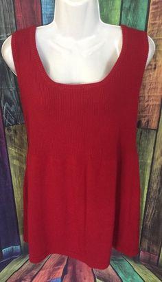 Lane Bryant Plus Size Womens 14 16 Sleeveless Red Knit Sweater Top | eBay