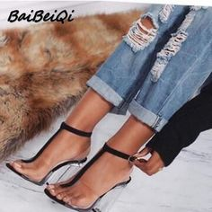 BaiBeiQi women gladiator sandals ladies pumps high heels shoes woman Clear Transparent T-strap party wedding dress thick shoes  #me #women #wedding #men #gloves #belts #bags #gift #fashion #fashionweek #newarrivals #graduation #kids #groom #accessories