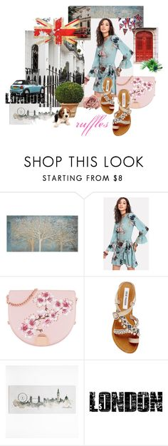 """""""Ruffles"""" by thelydialondon ❤ liked on Polyvore featuring Renwil, Ted Baker, Steve Madden, Graham & Brown, Tim Holtz, british and ruffles"""