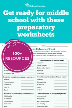 Start the school year on the right foot with these helpful resources for middle school. Sixth Grade Reading, Seventh Grade Math, Learning To Write, Writing Practice, Contrast Transition Words, Writing Algebraic Expressions, Context Clues Worksheets, Word Reference, Similes And Metaphors