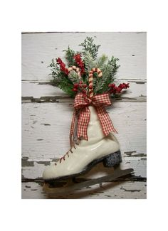 French Country Cottage Christmas Decor | Christmas Ice Skate Christmas wreath Door decor by 6miles