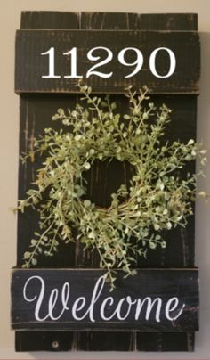 10 x Custom Rustic Shutter Style Wall Hanging with Wreath - The Effective Pictures We Offer You About wide shutters repurposed A quality picture can tell you - Porch Wall Decor, Farmhouse Wall Decor, Rustic Decor, Farmhouse House Numbers, Farmhouse Signs, Rustic Style, Vintage Decor, Farmhouse Style, Rustic Shutters