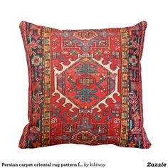 Persian carpet oriental rug pattern from Iran Pillow