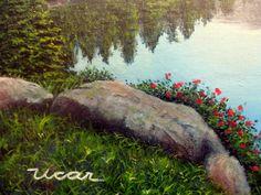 Cuadro Atardeciendo en el Ibón de Escarpinosa (Valle de Benasque, Huesca, Pirineo Aragonés) - 61 x 46 - Óleo sobre tablilla entelada - Detalle - Javier Úcar