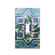 Blue and white floral Ottoman era tile design Switch Plate Covers