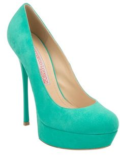 Mint green suede pump from Gianmarco Lorenzi featuring a round toe, a suede covered stiletto heel. a suede covered platform and a leather sole.