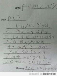 Date: February. Dear Dad
