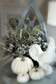 Love the white and grey Autumn vignette from Shabby Sweet Cottage ---