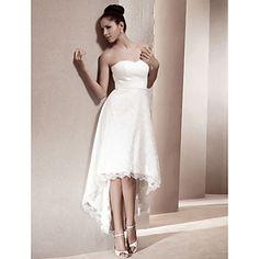 A-line Sweetheart Asymmetrical Lace Wedding Dress  – USD $ 127.79