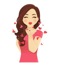 Blowing kiss women vector image on VectorStock Cute Cartoon Pictures, Cute Cartoon Girl, Cartoon Art, Kiss Images, Blowing Kisses, Emoji Love, Gif Animé, Happy Birthday Wishes, Anime Art Girl