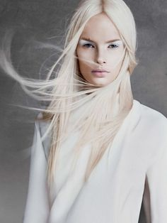 """pradafied: """"Show Your Colors"""", Irene Hiemstra photographed by Patrick Demarchelier for Vogue US February 2014 White Eye Makeup, White Eyeliner, White Eyeshadow, Beauty Editorial, Editorial Fashion, Editorial Hair, Foto Fashion, Patrick Demarchelier, Yin Yang"""