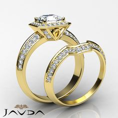 Asscher Diamond Engagement GIA I SI1 14k Yellow Gold Bridal Set Pave Ring 2.45ct