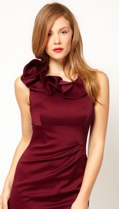 Buy Karen Millen Satin Pencil Dress with Ruffle Neck Detail at ASOS. With free delivery and return options (Ts&Cs apply), online shopping has never been so easy. Get the latest trends with ASOS now. Elegant Prom Dresses, Satin Dresses, Bridesmaid Dress Colors, Bridesmaids, Latest Outfits, Latest Clothes, Club Dresses, Short Dresses, Couture