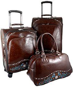 Montana west western hot pink rhinestone luggage set suitcase ...
