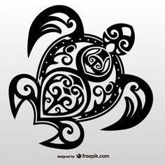 Vecteur de tatouage tribal tortue