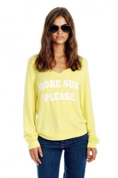 MORE SUN PLEASE V-NECK BAGGY BEACH JUMPER from Wildfox Couture