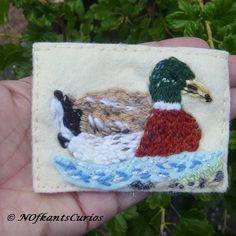Mallard Embroidered Yarn and Felt Mixed Media ACEO. £4.50