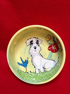Sealyham Terrier 8 Ceramic Dog Bowl for Food or Water Personalized at no Charge Signed by Artist Debby Carman *** More info could be found at the image url.