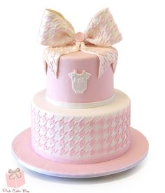 Houndstooth Baby Shower Cake | http://www.pinkcakebox.com/houndstooth-baby-shower-cake-2014-10-09.htm