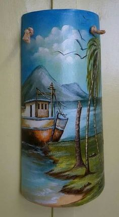 Marcela Romero Amaya's media content and analytics Painted Fan Blades, Painted Milk Cans, Decoupage Art, Roof Tiles, Pai… Clay Wall Art, Clay Art, Painted Fan Blades, Fan Blade Art, Painted Milk Cans, Tile Crafts, Decoupage Art, Painted Cakes, Tole Painting