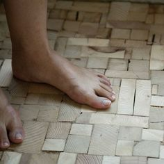 """interesting flooring idea using scraps from 2x4"""" wood to make a quirky wood floor"""