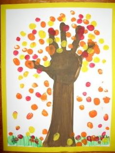 Handprint Tree: This autumn tree activity would provide a creative opportunity for the children at the preschool. It is fun to use their own handprint and fingerprints to create the picture.